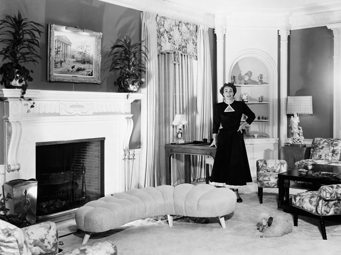 Joan Crawford in the sitting room of her home designed by William Haines