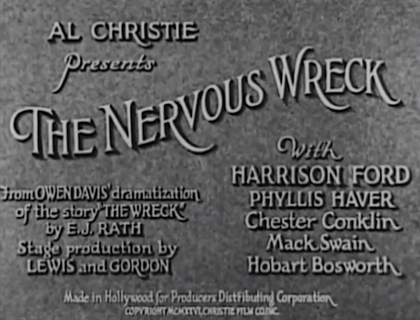 The Nervous Wreck (1926) title card