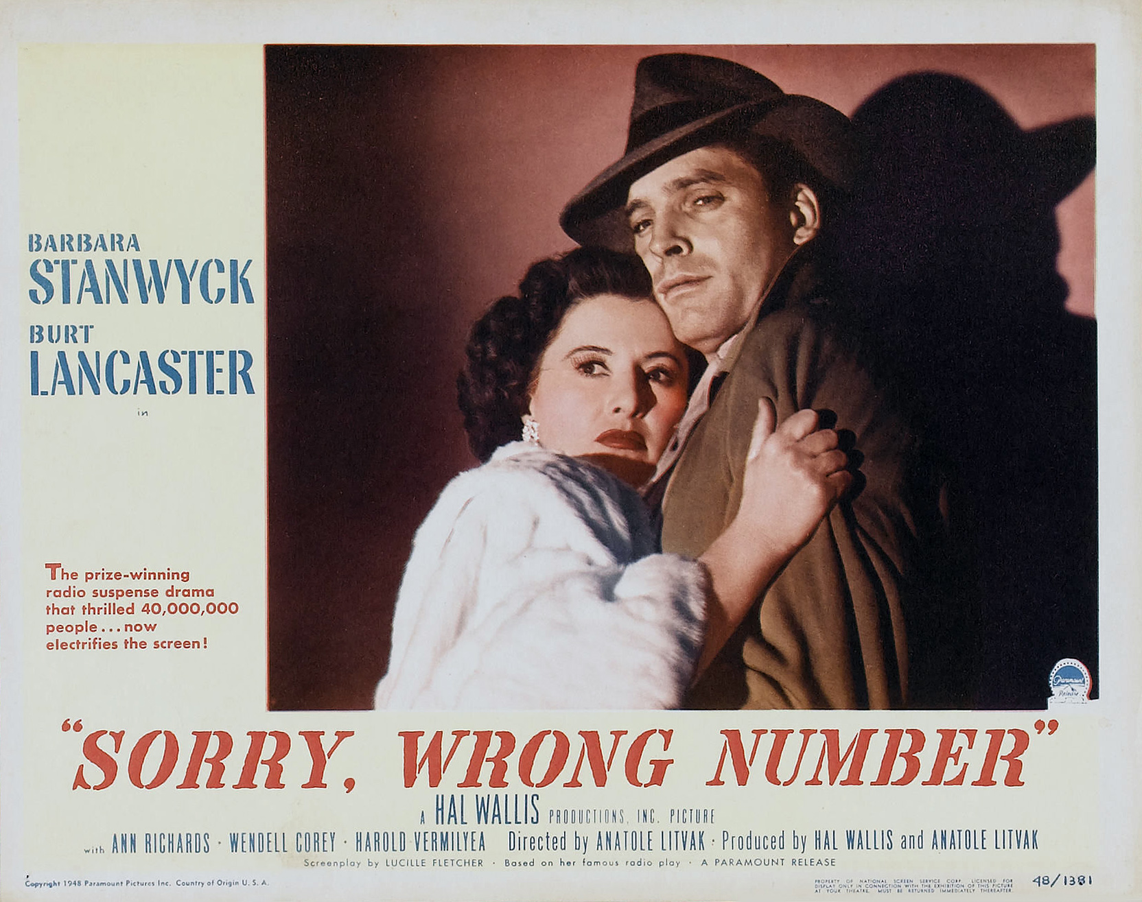 1940/'s Movie Posters Classic Cinema Sorry Wrong Number