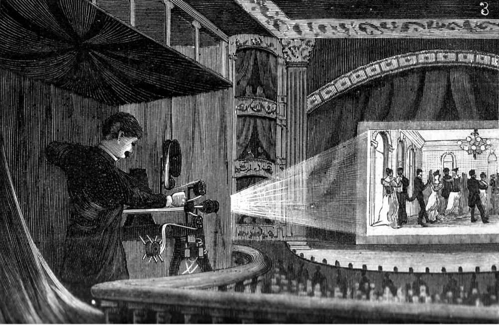 A Vitascope projector show at an existing theater.