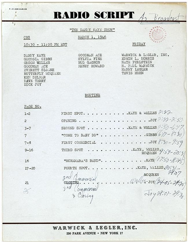 Danny Kaye Radio Show Script (1946)