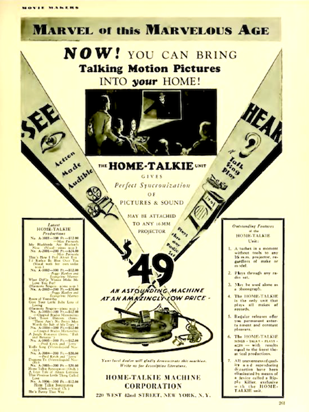 1929 Home Talkie Advertisement