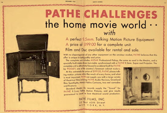 Pathe Home Talkie System Advertisement 1929