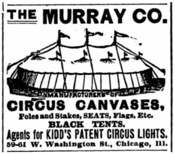 The Murray Co. Circus Canvas Advertisement, 1905
