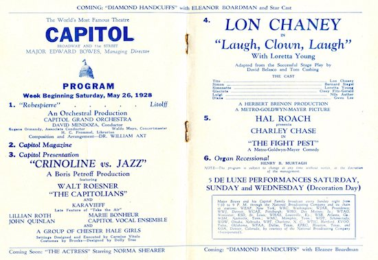 Capital Theatre Program 1928