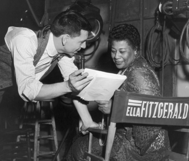Jack Webb and Ella Fitzgerald on set of PETE KELLY'S BLUES