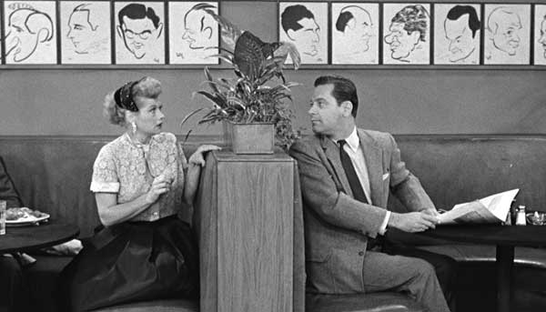Lucille Ball and William Holden in I Love Lucy episode, L. A. at Last filmed at the Hollywood Brown Derby