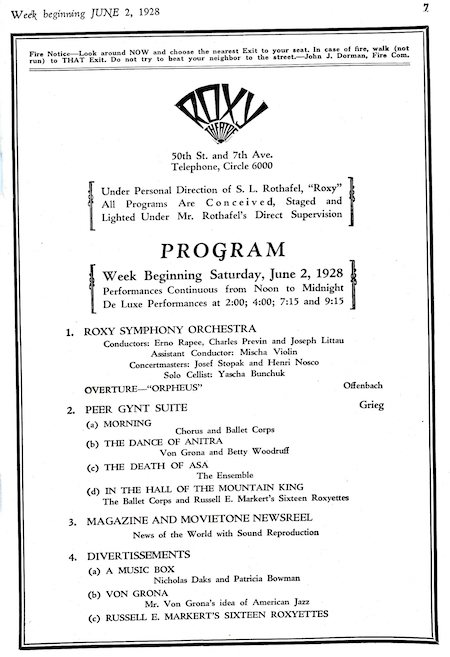 Roxy Theatre Program (1928)