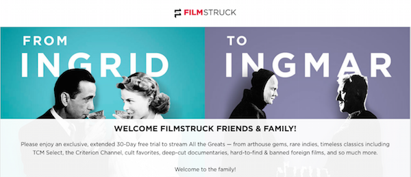 filmstruck exclusive 30-day trial subscription