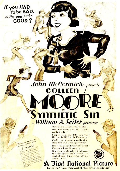 With Sound ad for Synthetic Sin (1929)
