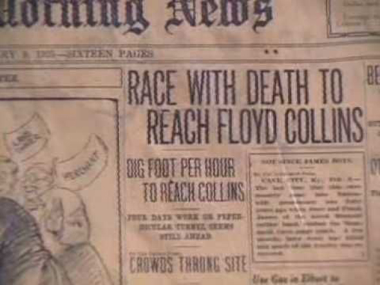 Floyd Collins Sand Cave Newspaper Headline 1925 Race with Death to Reach Floyd Collins