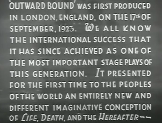 Outward Bound (1930) Prelude Card Opening