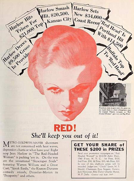 Red-Headed Woman Jean Harlow MGM Movie Poster Advertisement (1932)