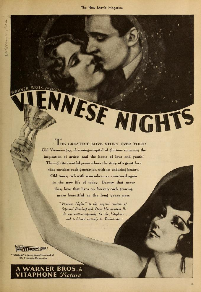 Viennese Nights Movie Poster (1930) Warner Brothers