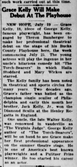 Grace Kelly Philly Play Bristol courier 7-19-49