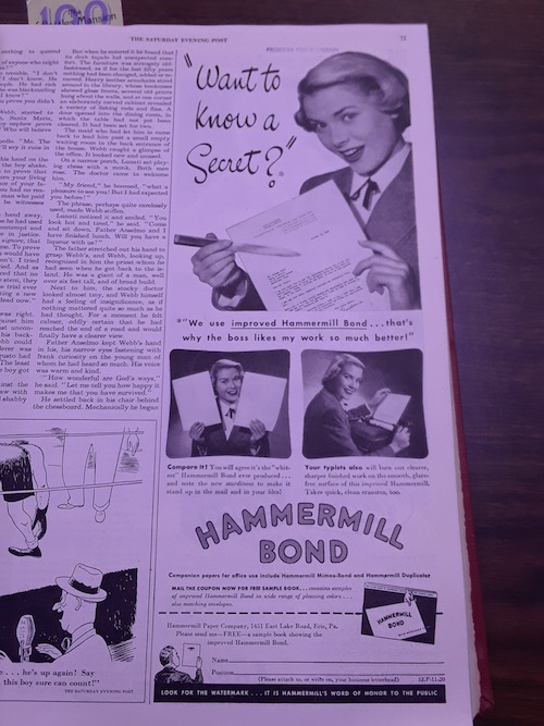 Grace Kelly as model, Hammermill SEP, Saturday Evening Post, November 1948