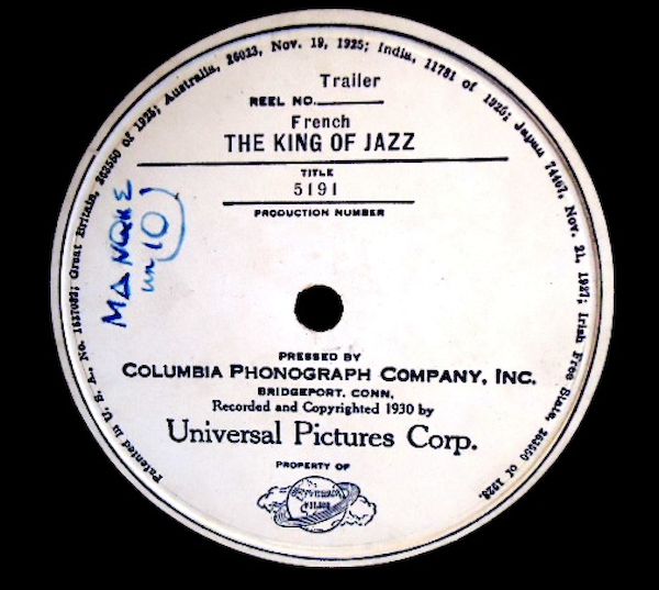 King of Jazz (1930) French Vitaphone Disc Label