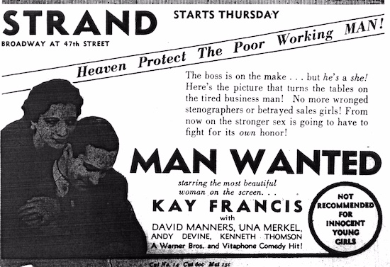 Man Wanted (1932) Advertisement
