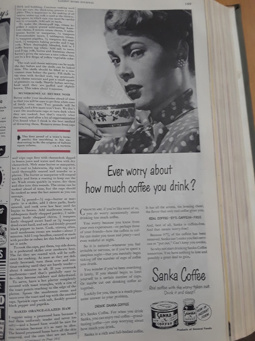 Grace Kelly as model, Sanka Half Page Ad LHJ, Ladies Home Journal, 1950