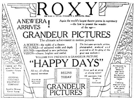 Advertisement Happy Days (1930) Grandeur Pictures