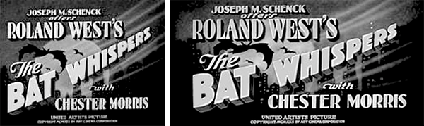 The Bat Whispers (1930) Wide Title Comparison