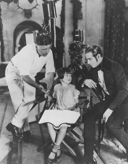 Clarence Brown Brown, daughter Adrienne, and Rudolph Valentino in a 1925 publicity shot
