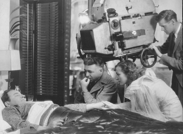 Clarence Brown directs Edward Arnold in Sadie McKee as Joan Crawford looks on - The cameraman is Oliver T Marsh