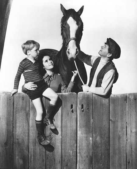 "Jackie ""Butch"" Jenkins, Elizabeth Taylor, King Charles (the horse), and Mickey Rooney in a promotional still for National Velvet"