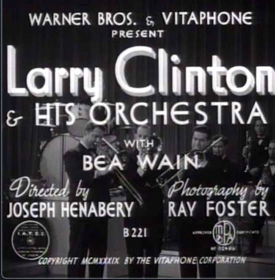 Title card for a Henabery-directed band short with the Larry Clint Orchestra