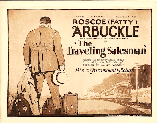 Poster for the 1921 Roscoe Arbuckle feature THE TRAVELING SALESMAN, directed by Henabery