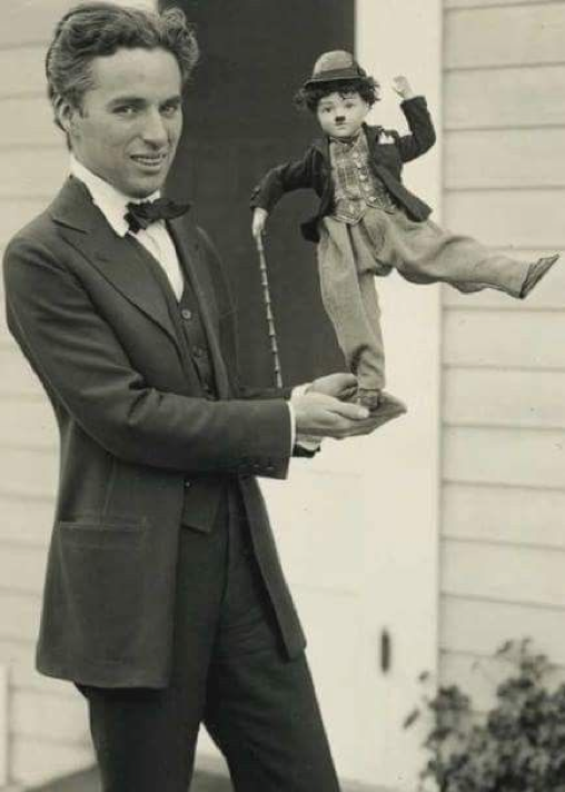 Charlie Chapling with Chaplin Puppet