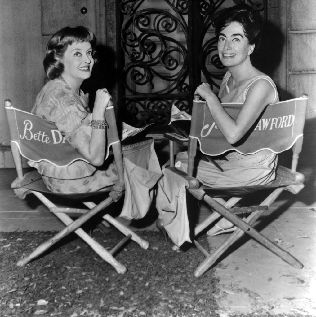 Joan Crawford and Bette Davis on the set of Whatever Happened to Baby Jane? (1962)