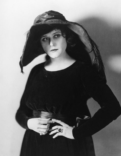 Theda Bara Black Hat Black Dress