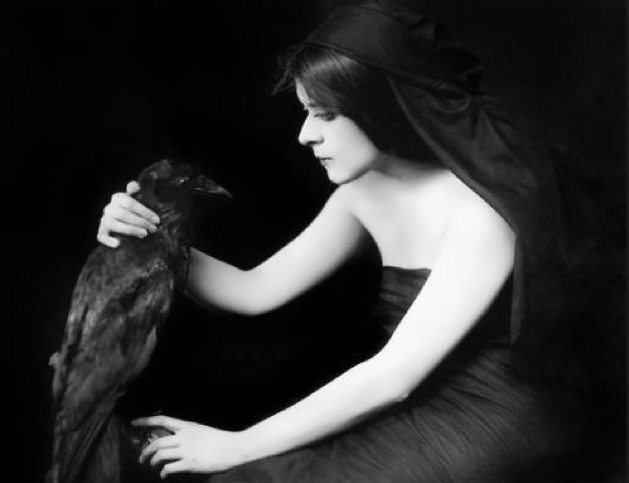 Theda Bara and a crow