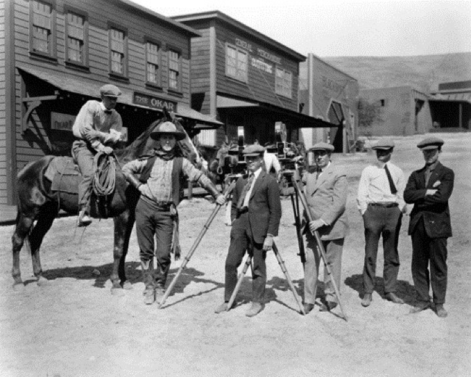 On set of an early western film in Inceville - Hollywood, California