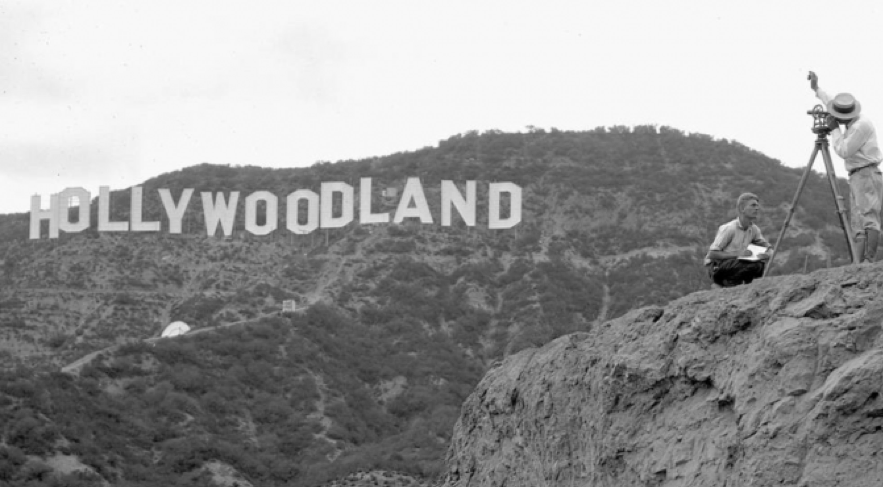 a pre-1949 look at the original Hollywoodland Sign