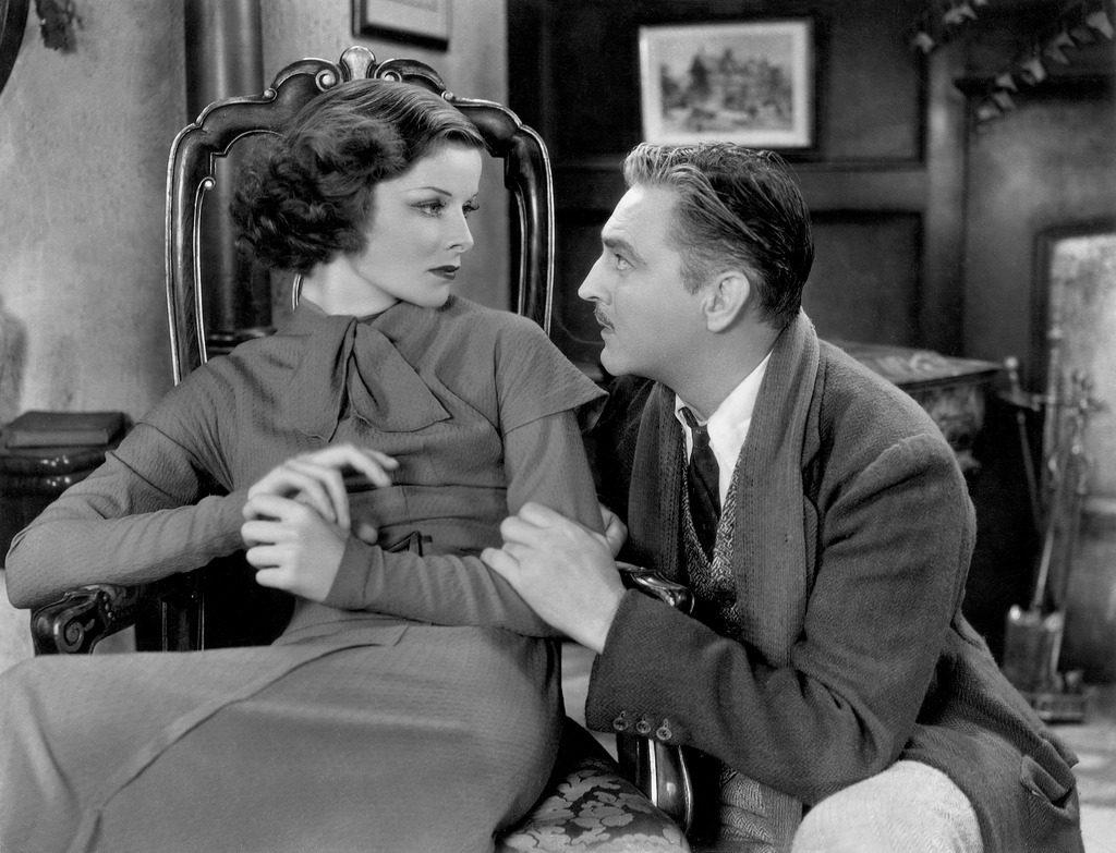 Katharine Hepburn alongside John Barrymore in a scene from A Bill of Divorcement (1932)