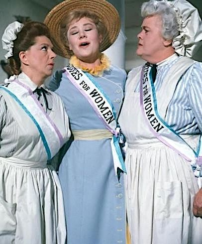 Hermione Baddeley, Glynis Johns, and Reta Shaw in Mary Poppins (1964)
