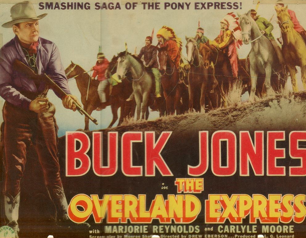 The Overland Express (1938) Movie Poster, Buck Jones, Marjorie Reynolds, and Carlyle Moore