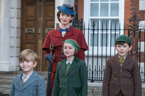 Emily Blunt is Mary Poppins, Joel Dawson is Georgie, Pixie Davies is Annabel and Nathanael Saleh is John