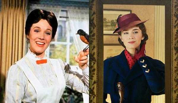 Julie Andrews in Mary Poppins (1964) and Emily Blunt in Mary Poppins Returns (2018)