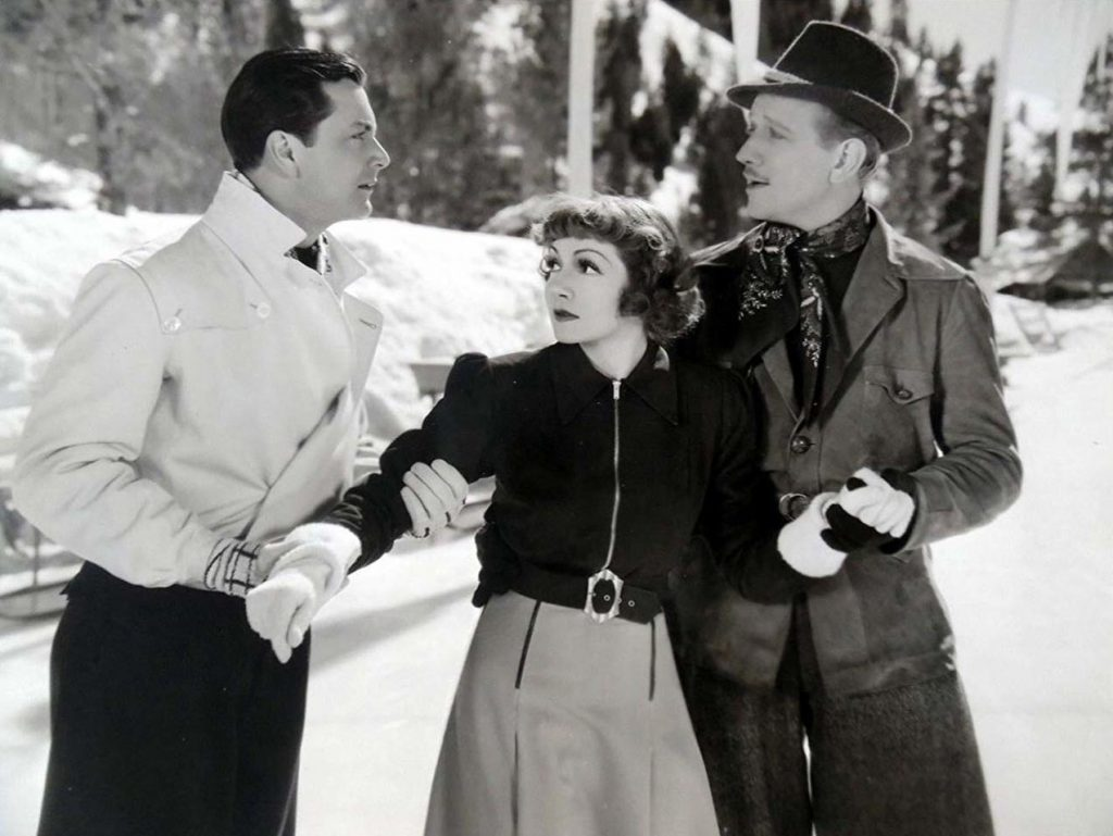 Claudette Colbert featured alongside Melvyn Douglas and Robert Young in a scene from I Met Him in Paris.