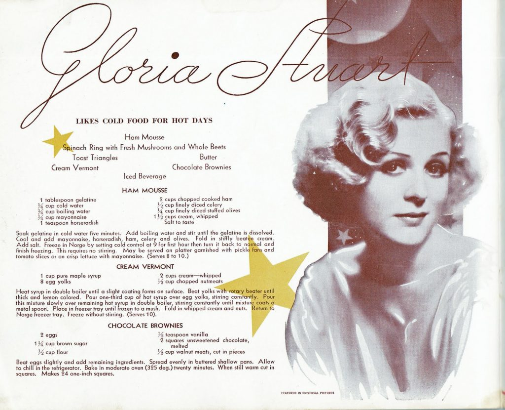 Gloria Stuart sharing some of her recipes in an advertisement for the Norge freezer, c. 1930s.