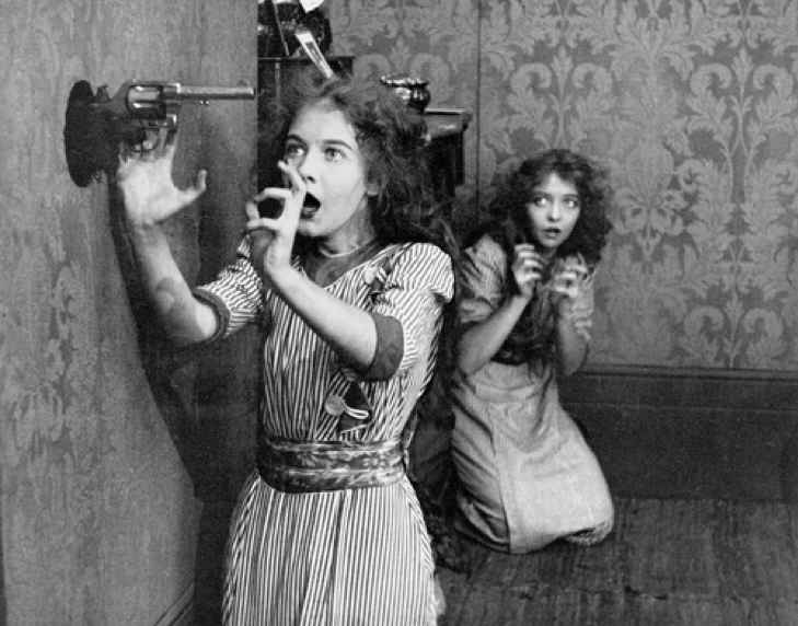 Lillian and Dorothy Gish in An Unseen Enemy (1912)