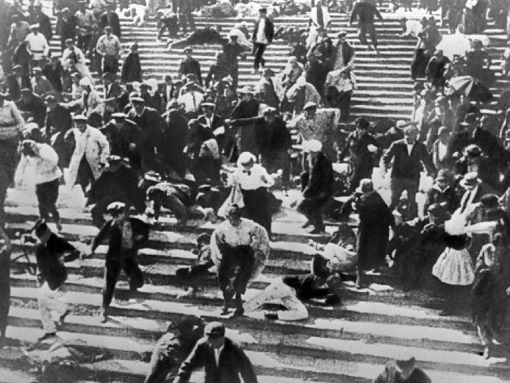 a panicked crowd flees down the famed marble steps in Battleship Potemkin (1925)