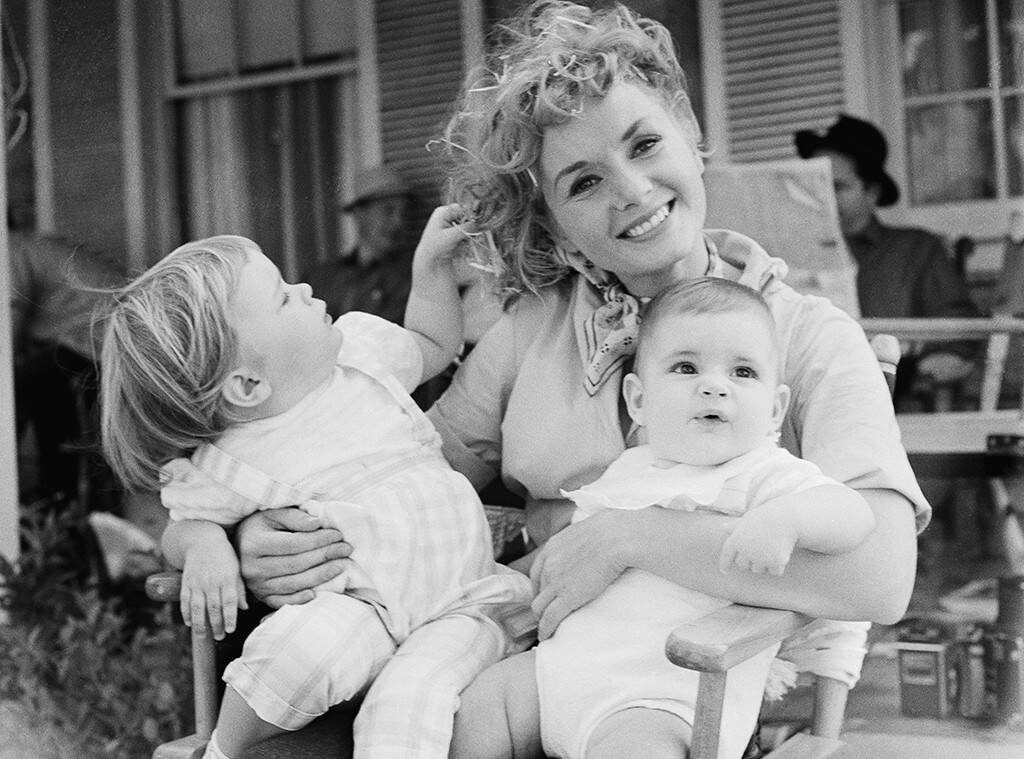 Debbie Reynolds with her children, Carrie and Todd Fisher, on the set of The Mating Game (1959).