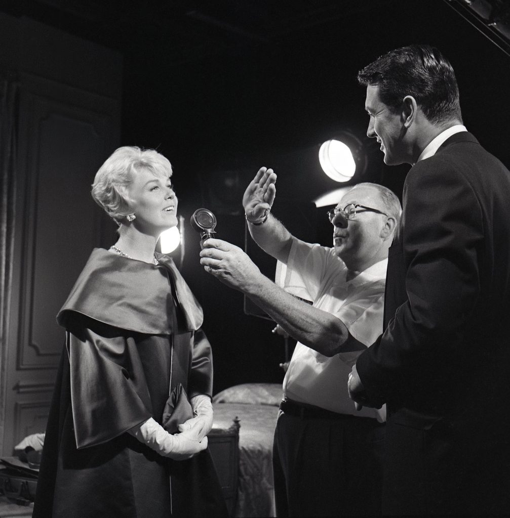 Doris Day and Rock Hudson on the set of Pillow Talk (1959), the film for which Doris received her first and only Oscar nomination.