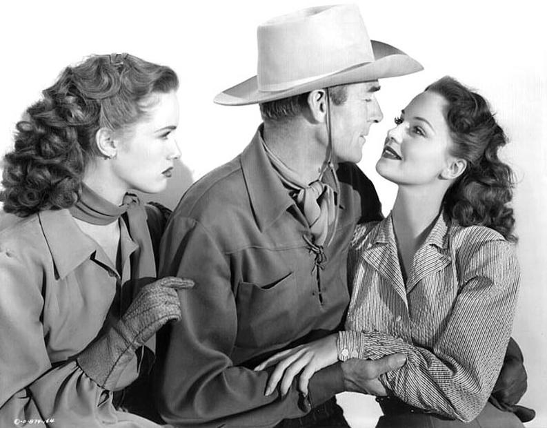 Barbara Britton, Randolph Scott, Dorothy Hart in Gunfighters (1947)
