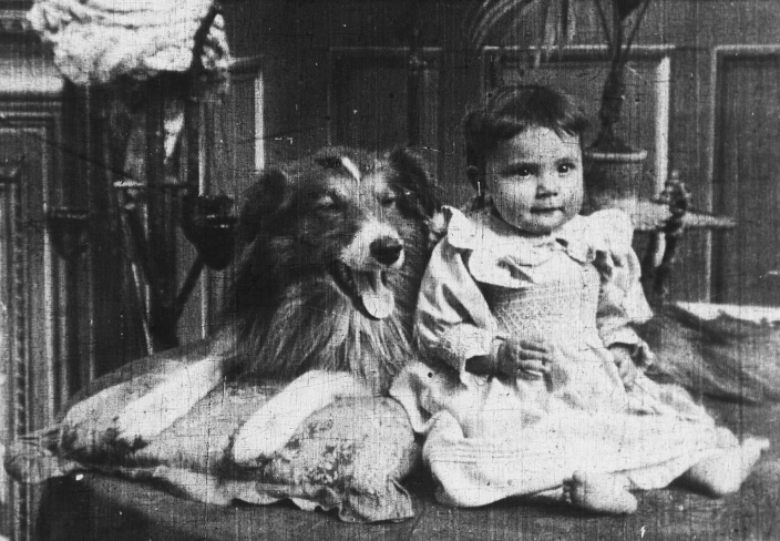 Blair and baby in a still from Rescued by Rover (1905)