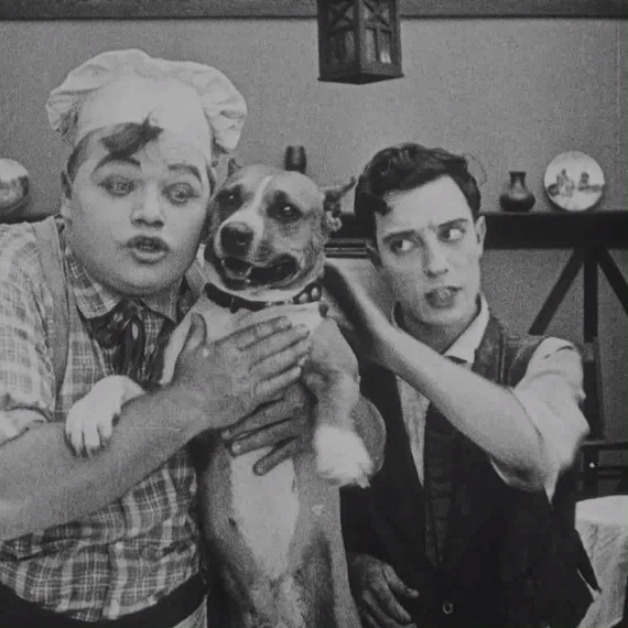 Luke the Dog with Roscoe Arbuckle and Buster Keaton in The Cook (1918)